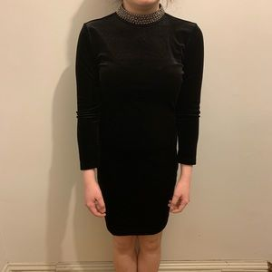 Black Velvet TopShop Dress with Studded Neck